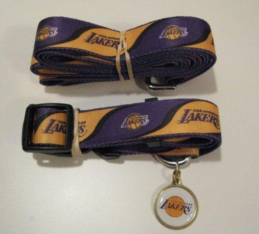 Los Angeles Lakers Pet Dog Leash Set Collar ID Tag Medium