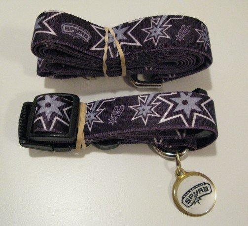 San Antonio Spurs Pet Dog Leash Set Collar ID Tag Gift Size Medium