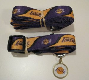 Los Angeles Lakers Pet Dog Leash Set Collar ID Tag Large