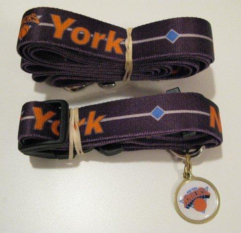 New York Knicks Pet Dog Leash Set Collar ID Tag Gift Size Large