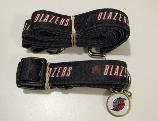 Portland Trail Blazers Pet Dog Leash Set Collar ID Tag Gift Size Large