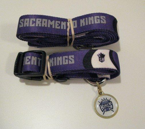 Sacramento Kings Pet Dog Leash Set Collar ID Tag Gift Size Large