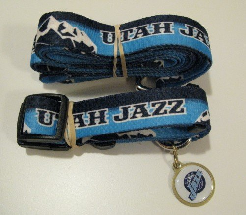 Utah Jazz Pet Dog Leash Set Collar ID Tag Gift Size Large