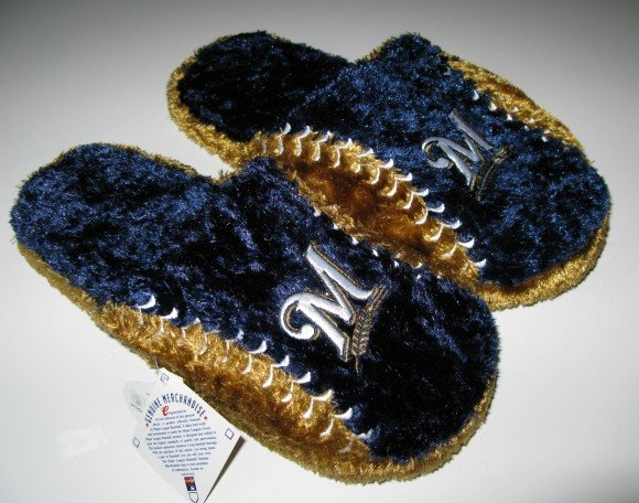 Milwaukee Brewers Ball Slide Slippers Gift XL