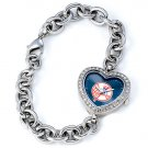 New York Yankees Stainless Steel Rhinestone Ladies Heart Watch