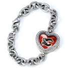 Calgary Flames Game Time Stainless Steel Rhinestone Ladies Heart Watch