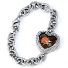 Cleveland Browns Game Time Stainless Steel Rhinestone Ladies Heart Watch
