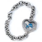 Detroit Lions Game Time Stainless Steel Rhinestone Ladies Heart Watch