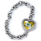 Green Bay Packers Game Time Stainless Steel Rhinestone Ladies Heart Watch