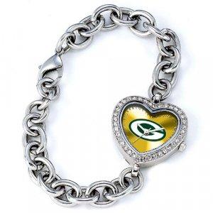 Green Bay Packers Game Time Stainless Steel Rhinestone Ladies Heart Watch