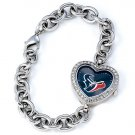 Houston Texans Game Time Stainless Steel Rhinestone Ladies Heart Watch