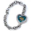 Jacksonville Jaguars Game Time Stainless Steel Rhinestone Ladies Heart Watch
