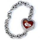 Kansas City Chiefs Game Time Stainless Steel Rhinestone Ladies Heart Watch