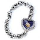 Minnesota Vikings Game Time Stainless Steel Rhinestone Ladies Heart Watch