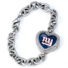 New York Giants Game Time Stainless Steel Rhinestone Ladies Heart Watch