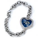 St. Louis Rams Game Time Stainless Steel Rhinestone Ladies Heart Watch