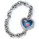 Chicago Cubs Game Time Stainless Steel Rhinestone Ladies Heart Watch