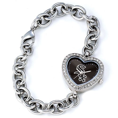 Chicago White Sox Game Time Stainless Steel Rhinestone Ladies Heart Watch