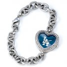 Los Angeles Dodgers Game Time Stainless Steel Rhinestone Ladies Heart Watch