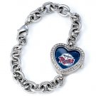 Minnesota Twins Game Time Stainless Steel Rhinestone Ladies Heart Watch