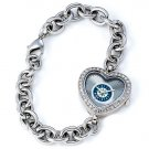 Seattle Mariners Game Time Stainless Steel Rhinestone Ladies Heart Watch