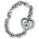 Boston Celtics Game Time Stainless Steel Rhinestone Ladies Heart Watch