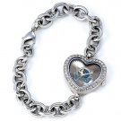 Dallas Mavericks Game Time Stainless Steel Rhinestone Ladies Heart Watch