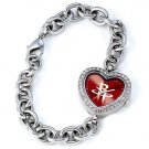 Houston Rockets Game Time Stainless Steel Rhinestone Ladies Heart Watch