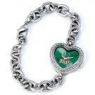 Milwaukee Bucks Game Time Stainless Steel Rhinestone Ladies Heart Watch