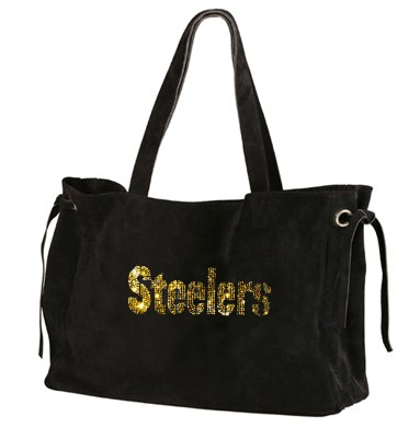 Pittsburgh Steelers Suede and Crystals Tote Bag Purse