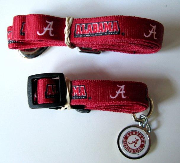 University of Alabama Crimson Tide Pet Dog Set Leash Collar ID Tag Medium