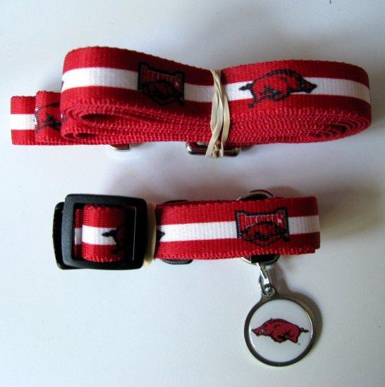 University of Arkansas Razorbacks Pet Dog Set Leash Collar ID Tag Small