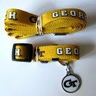 Georgia Tech University Yellow Jackets Pet Dog Set Leash Collar ID Tag Medium