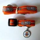 University of Illinois Fightning Illini Pet Dog Set Leash Collar ID Tag Small