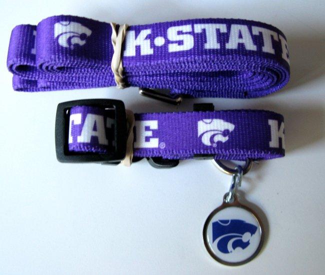 Kansas State University KSU Wildcats Pet Dog Set Leash Collar ID Tag Large