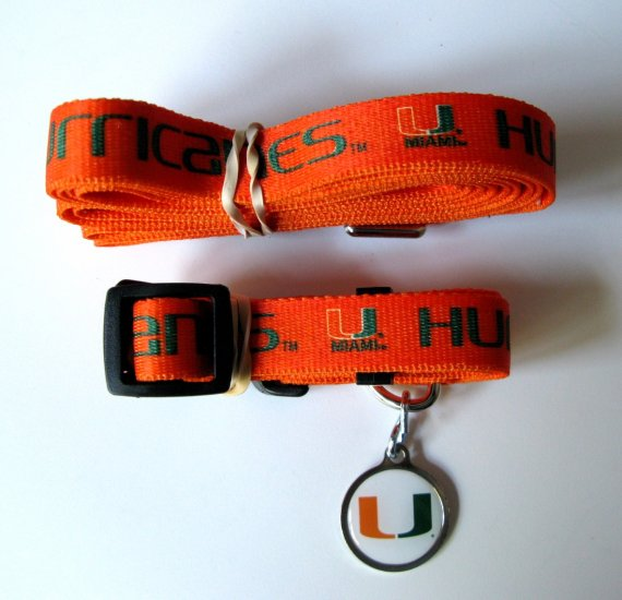 University of Miami Hurricanes Pet Dog Set Leash Collar ID Tag Large