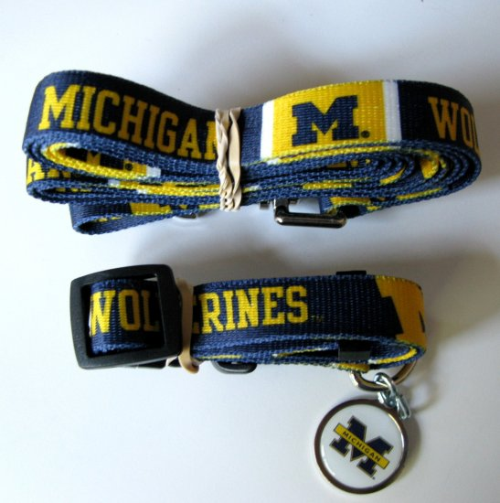 University of Michigan Wolverines Pet Dog Set Leash Collar ID Tag Medium