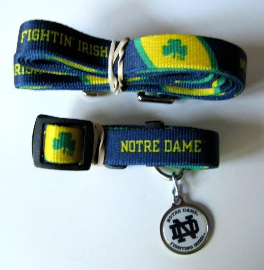 University of Notre Dame Fighting Irish Pet Dog Set Leash Collar ID Tag Large