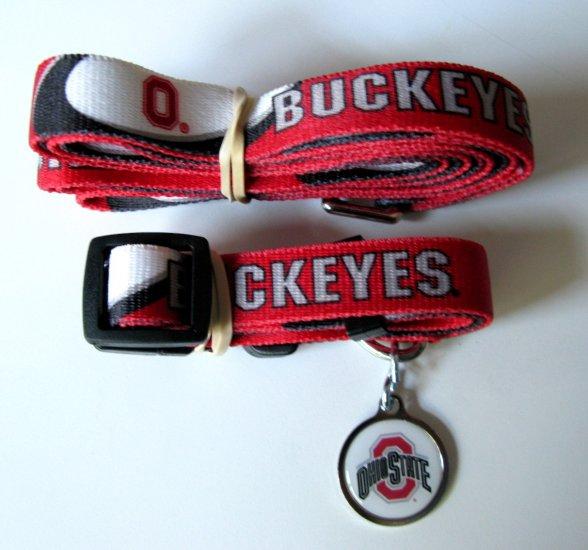 Ohio State University Buckeyes Pet Dog Set Leash Collar ID Tag Small