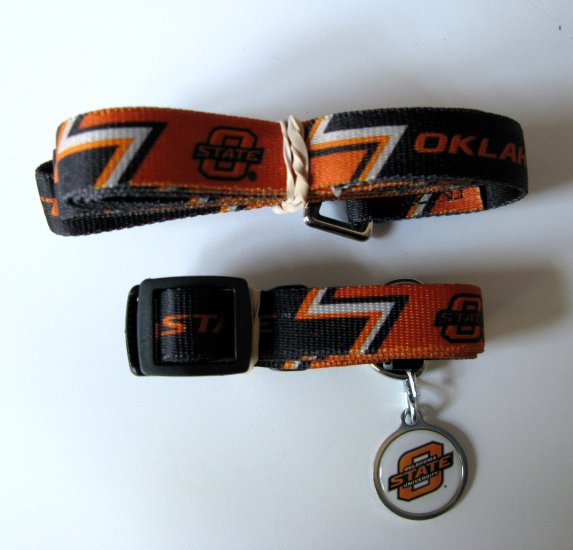 Oklahoma State University Cowboys Pet Dog Set Leash Collar ID Tag Large