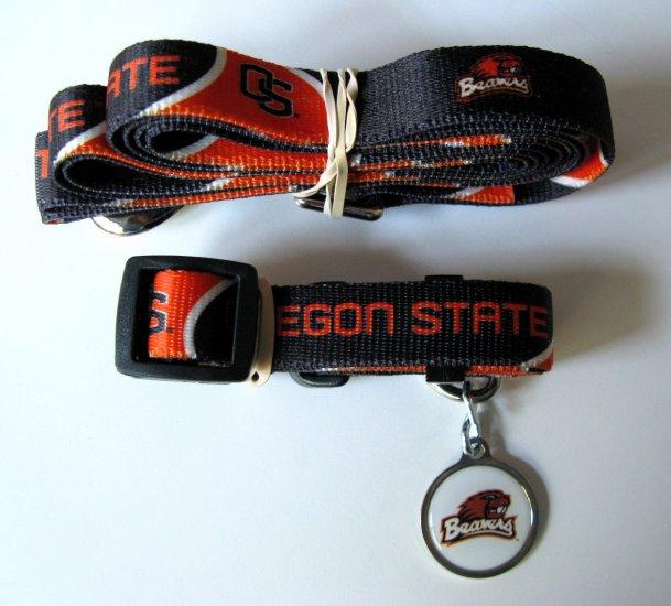Oregon State University Beavers Pet Dog Set Leash Collar ID Tag Small