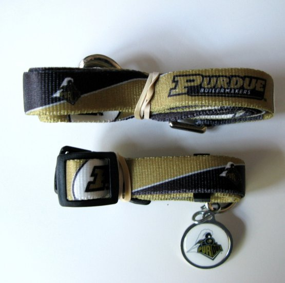 Purdue University Boilermakers Pet Dog Set Leash Collar ID Tag Small