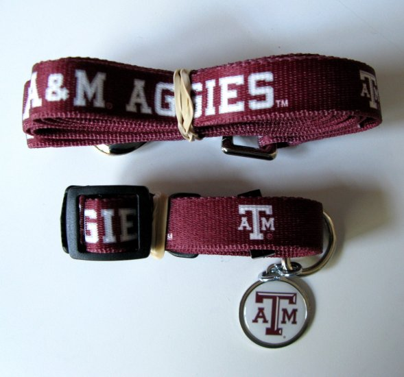 Texas A&M University Aggies Pet Dog Set Leash Collar ID Tag Small