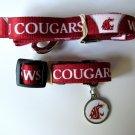Washington State University Cougars Pet Dog Set Leash Collar ID Tag Small