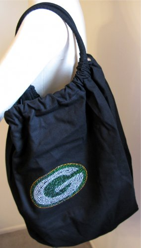 Green Bay Packers B for Betsy Crystals Canvas Bag Large Purse