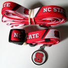 North Carolina NC State University Wolfpack Pet Dog Set Leash Collar ID Tag Large