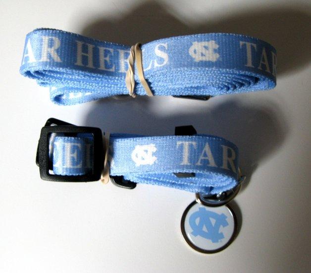 North Carolina University Tarheels Pet Dog Set Leash Collar ID Tag Medium