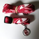 University Of Oklahoma Sooners Pet Dog Set Leash Collar ID Tag Large