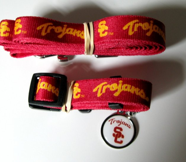 USC Southern California University Trojans Pet Dog Set Leash Collar ID Tag Small