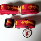 USC Southern California University Trojans Pet Dog Set Leash Collar ID Tag Small